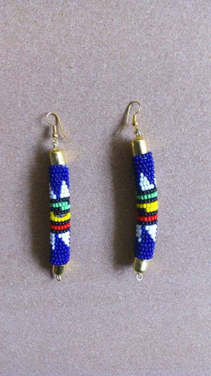 Earrings Blue and White African beaded earrings Long Beaded Maasai jewelry - by Naruki Crafts