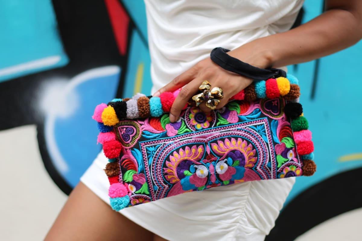 clutches Bohemian Colorful Pom Clutch Bag - by Offbeat Boutique