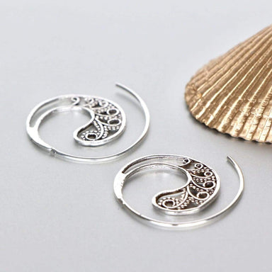 Earrings Boho Ear Hoops Sterling Silver Funky Piercing Tribal Ethnic Earrings,(E166)