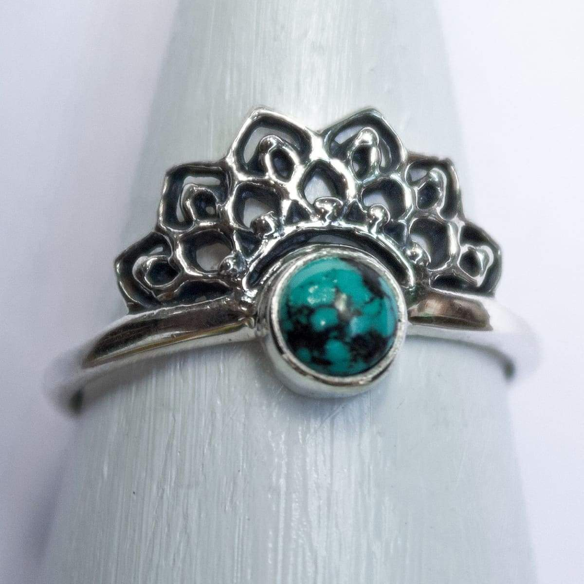 Rings Boho Turquoise Ring Silver Summer - by Craftnez