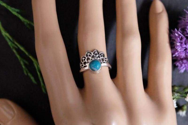 Rings Boho Turquoise Ring Silver Summer