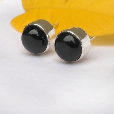 Earrings Bold Stud Earring 10mm Black Onyx Ball onyx earrings Gemstone Studs Sterling silver Women's Round studs