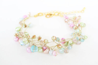 Bracelets Colorful freshwater pearl bracelet with crystal on silk thread multicolor sweet cute green blue pink gold summer jewelry