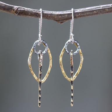 Brass Marquis shape earrings with silver circle and brass sticks on oxidized sterling hooks - by Metal Studio Jewelry