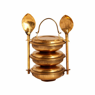 lunch boxes Brass Miniature 3 Tier box - A dabba or Indian-style tiffin carrier Bombay Dabba - by Mrinalika Jain