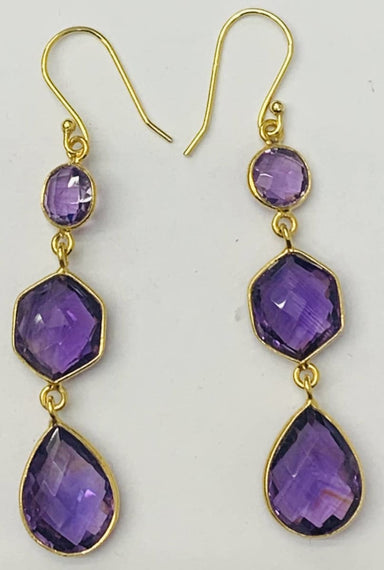 Earrings Brazil Amethyst Sterling Silver Gold Plated Earring - by TJ GEMS