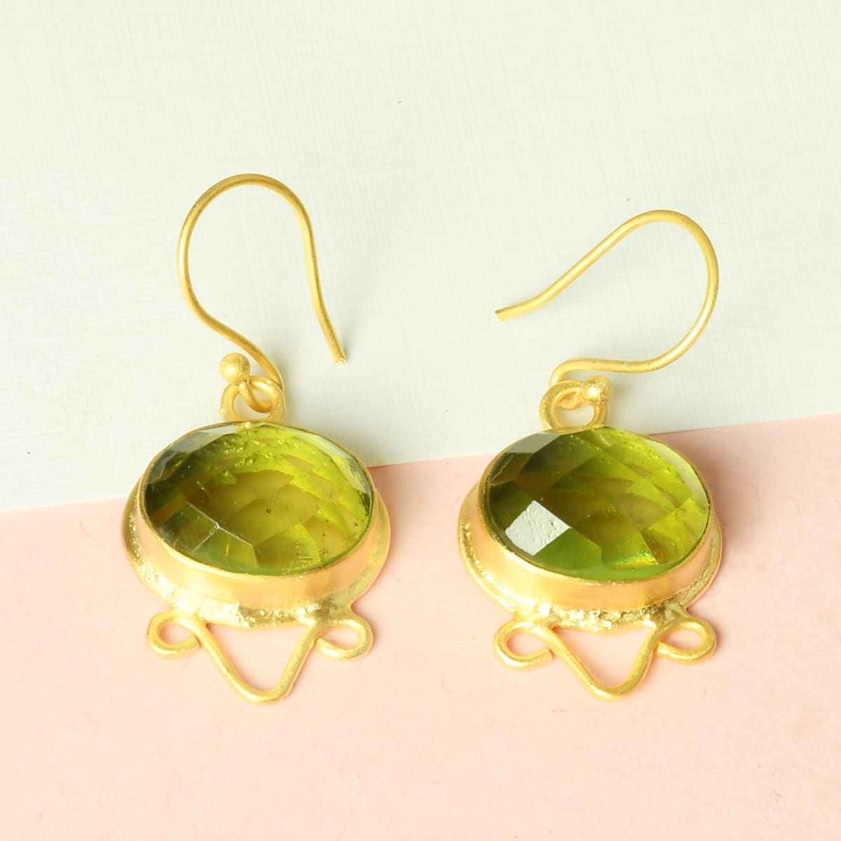 Bridesmaids 18K Gold Vermeil Green Amethyst Gemstone Party Wear Earrings - by Bhagat Jewels