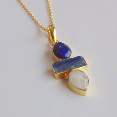 Bridesmaids Lapis Lazuli Kyanite And Rainbow Moonstone Designer Pendant