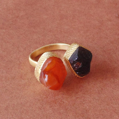 Bridesmaids Raw Carnelian And Garnet January Birthstone Stacking Ring - by Bhagat Jewels