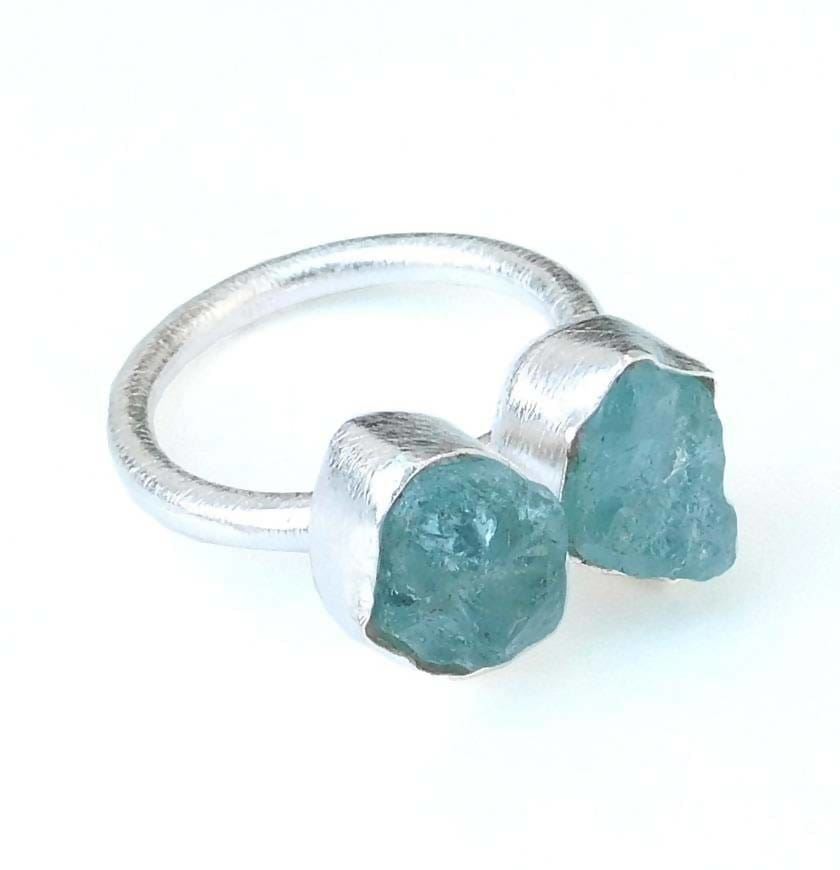 Rings Solid 925 Sterling Silver Ring Raw Aquamarine Matte Finish