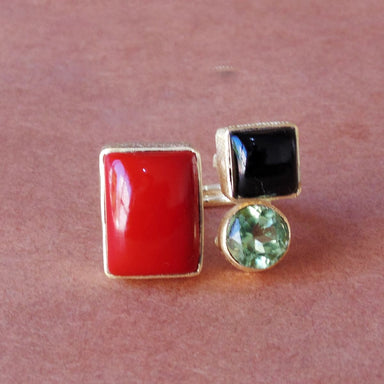 Cabochon 18K Gold Vermeil Coral Black Onyx And Green Gemstone Bezel Set Cocktail Ring - by Bhagat Jewels