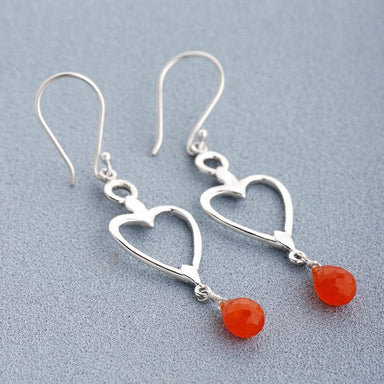 Pendants carnelian bead simple hoop earrings ear wire beaded gift idea drops handmade