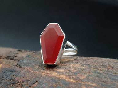 Ring Carnelian Coffin Statement Gemstone Handmade 925 Silver Boho Dainty Women Gift For Her - by GIRIVAR CREATIONS