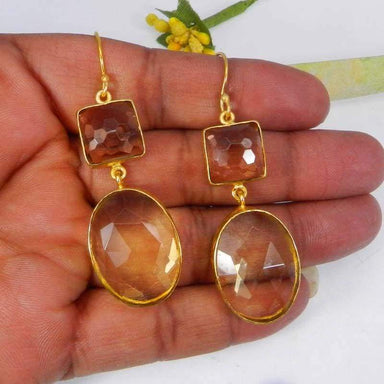 Earrings Champagne Hydro and Lemon Gold Plated Bezel Set Dangle Earring