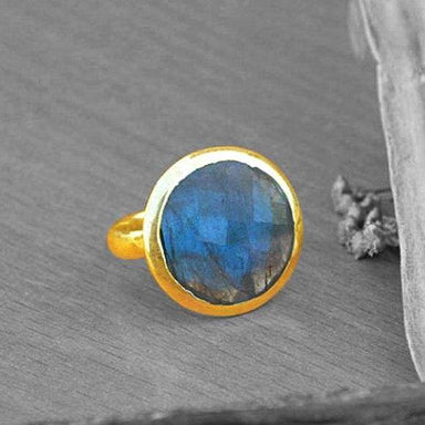 Rings Checker Cut Blue Fire Labradorite gold ring,14k yellow ring