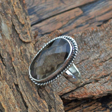 Rings Checker Cut Smoky Quartz Ring - 925 Sterling Silver -Designer Jewelry