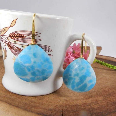 Earrings Chinese Larimar Silver Gold Plated Dangle Drop Jewelry