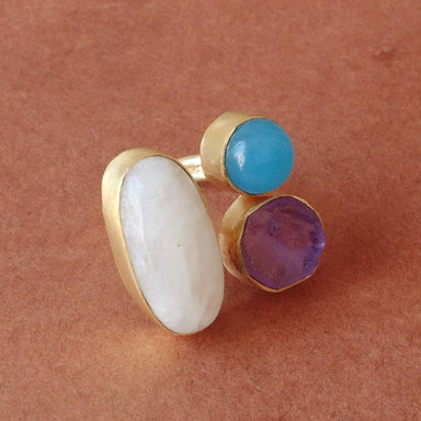 Christmas Sale Rainbow Moonstone Amethyst And Blue Chalcedony Gemstone Fashion Ring - by Bhagat Jewels