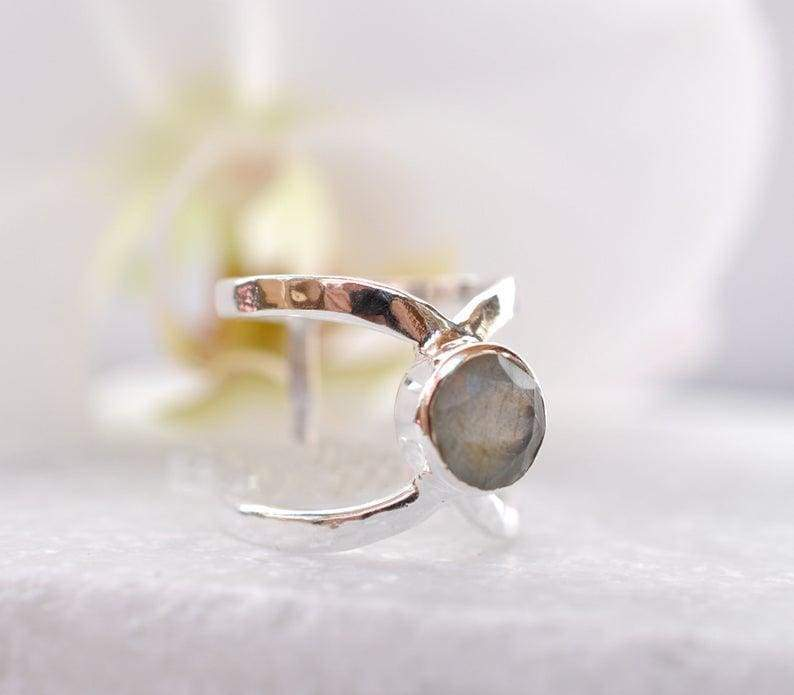 Chunky Labradorite Boho Silver Ring Best Birthday Gifts for women