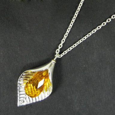 Necklaces Citrine Drops 925 Sterling Silver Designer Long Chain Necklace Jewelry