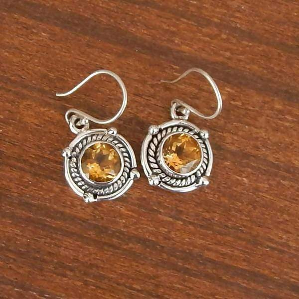 Earrings Citrine - November Birthstone - Oxodized Silver - Hanging - Deep Yellow