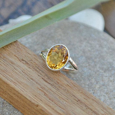 Rings Citrine Gemstone Ring - 925 Sterling Silver