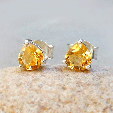 Earrings Sale Citrine Heart Shaped Studs 925 Silver Gemstone Gift for mom Tiny