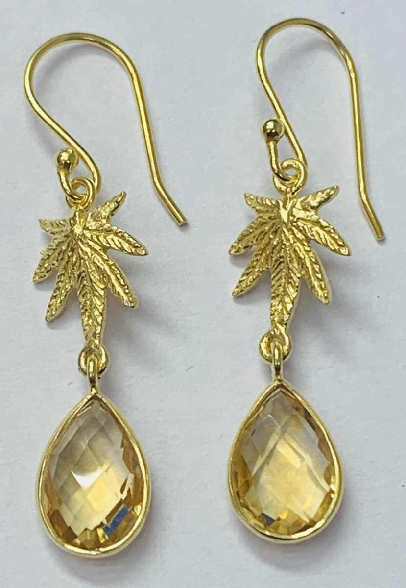 Earrings Citrine Stone with Frosted leaf Part Earring Sterling Silver Gold Plated - by TJ GEMS