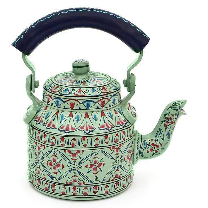 Painted Teapots Classic Green Hand Tea Pot in Aluminium