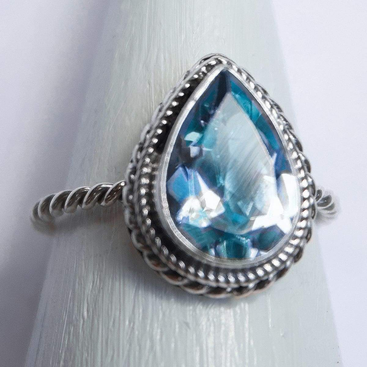 Rings Classy Pears Blue Topaz Ring Gemstone Silver Handmade Jewelry Gift - by Craftnez