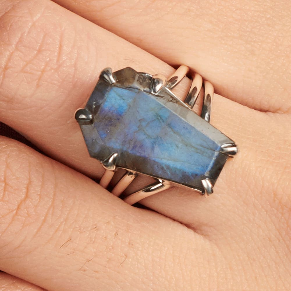 Labradorite and Sterling Silver Ring Size 7.5 Handcrafted Prong Set Gemstone Ring