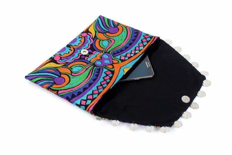 Colorful Embroidered Swirl Kimmi Clutch - Clutches