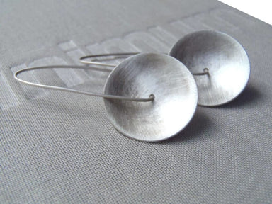 Earrings Concave earrings minimal design in brushed or blacked sterling! - by dikua