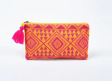 Pouches Cosmetic bag embroidery orange pink kilim boho 5X9 inches - by VLiving