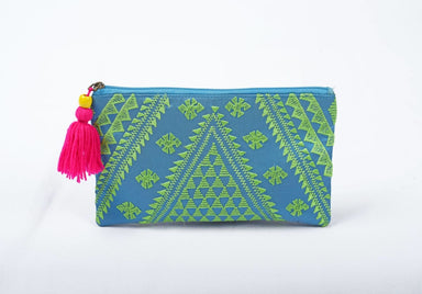 Pouches Cosmetic bag embroidery turquoise green kilim boho 5X9 inches - by VLiving