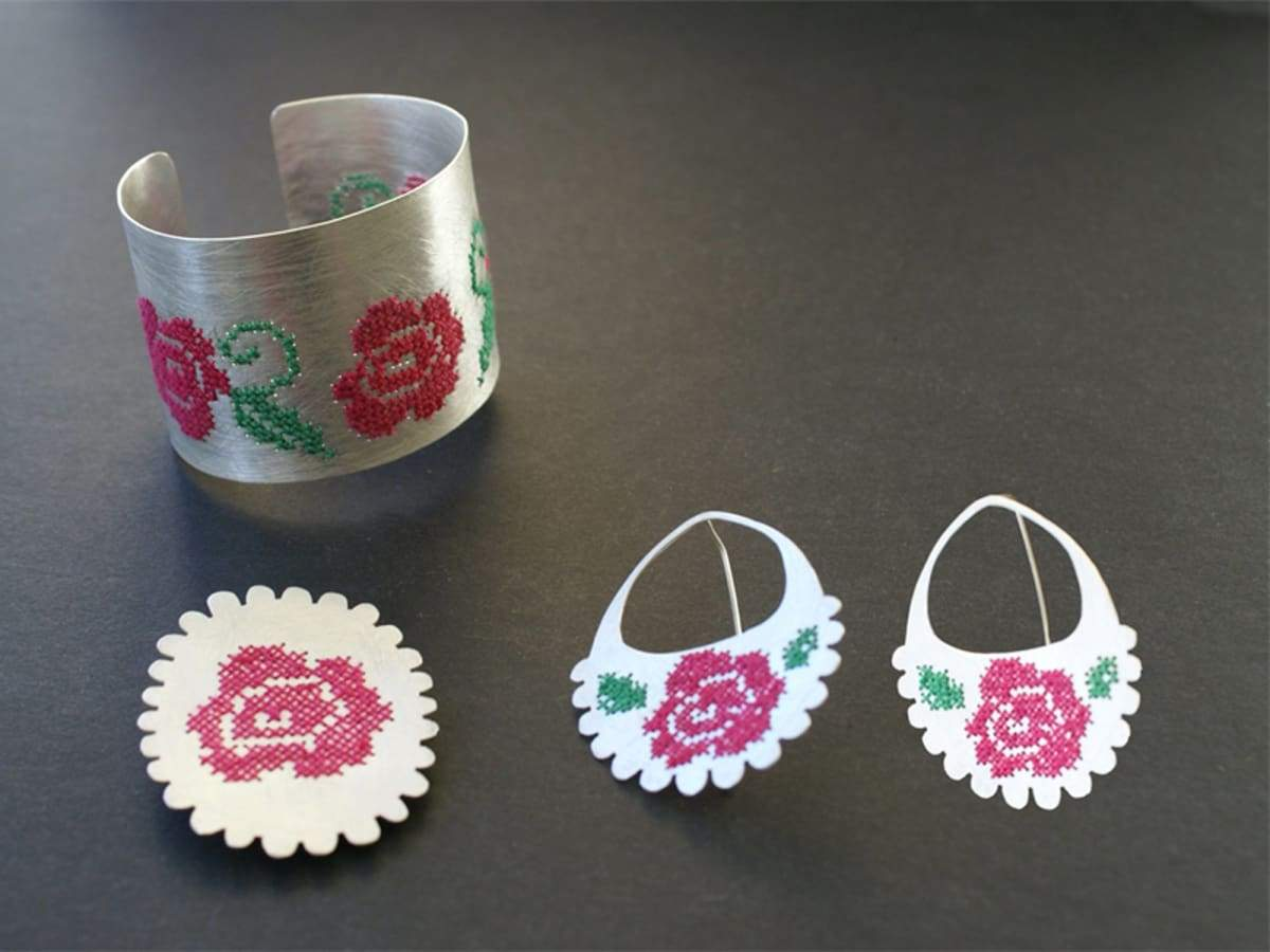 Earrings cross stitch rose embroidering metal earrings post big flower mades gift for her boho wedding earrings,