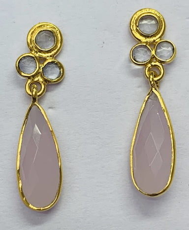 Earrings Crystal Polki with Pink Calci Stud Earring Gold Plated - by TJ GEMS