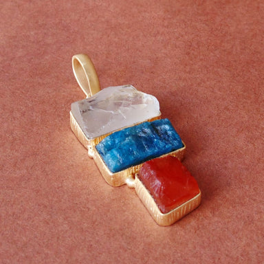 Crystal Quartz Apatite And Carnelian Three Stone Bezel Set Designer Pendant - by Bhagat Jewels