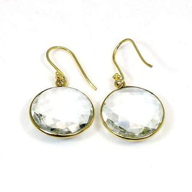 Crystal Quartz Earrings- Dangle Indian Jewelry- Designer Gold Plated Earrings