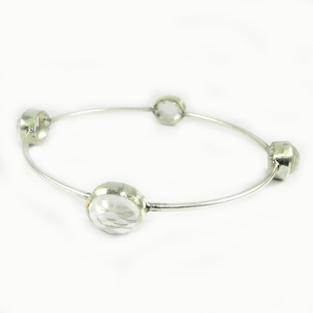 Bracelets Crystal Quartz Gemstone 925 Sterling Silver Designer Bezel Bangle