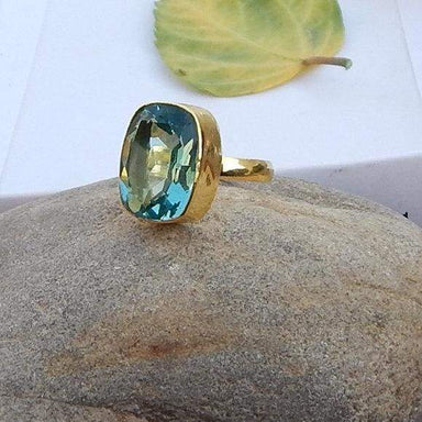 Cushion Cut Green Apatite Quartz 925 Sterling silver Ring 22K Yellow Gold Filled Rose