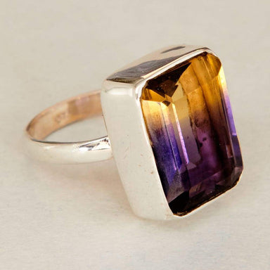 Rings Cushion Faceted Ametrine Quartz Gemstone 925 Sterling Silver Ring Fashion Handmade Jewelry Gift - by NativeFineJewelry