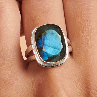 Rings Cushion Faceted Blue Labradorite Gemstone 925 Sterling Silver Ring Fashion Handmade Jewelry Gift - by NativeFineJewelry