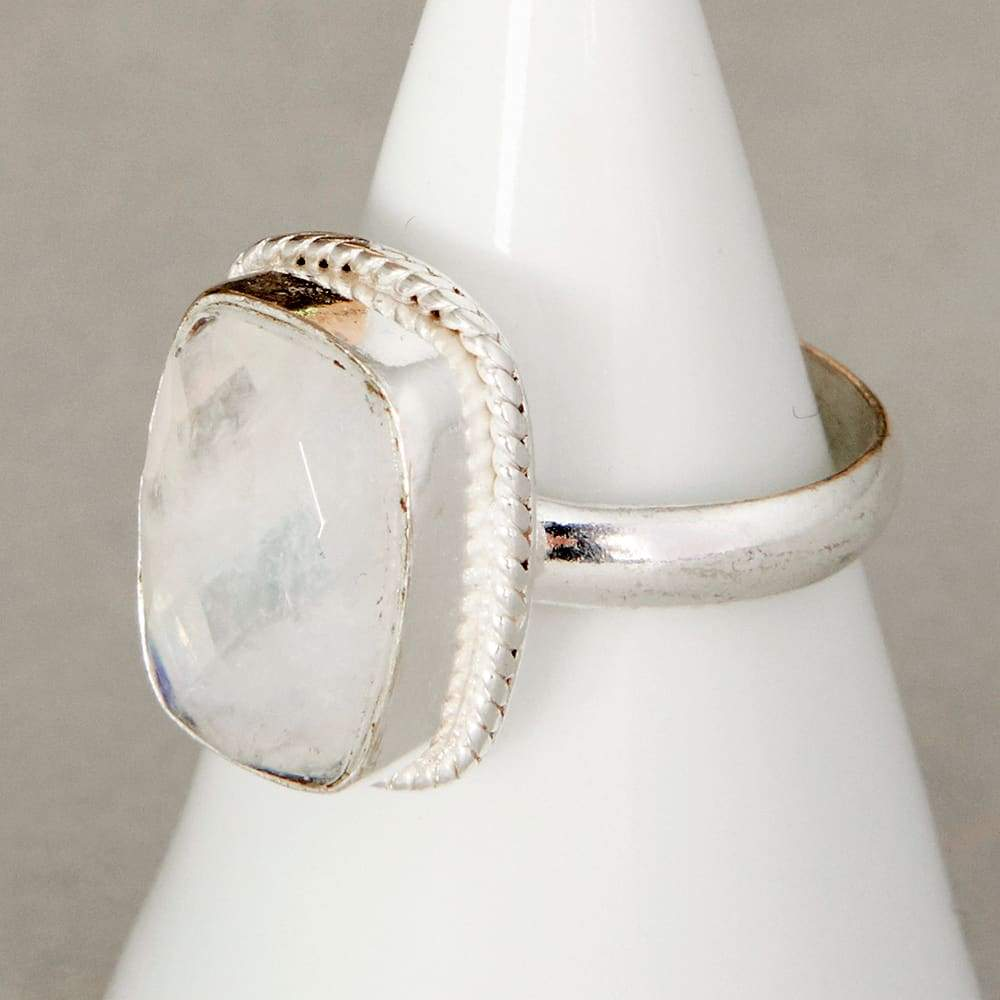 925 Sterling Silver Ring Jewelry Birthstone Ring Cushion Rainbow Moonstone Ring Blue Moonstone Ring Blue Moonstone Gift Ring