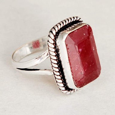 Rings Cushion Faceted Dark Red Ruby Gemstone 925 Sterling Silver Ring Fashion Handmade Jewelry Gift - by NativeFineJewelry