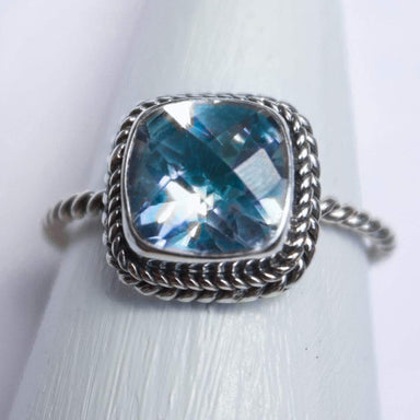 Rings Cushion Gem Ring with London Blue Topaz Gemstone Silver Handmade Jewelry Gift - by Craftnez