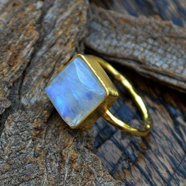 Rings Rainbow Moonstone gold 14k yellow ring