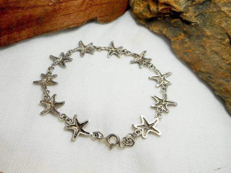Bracelets Cute Unique Handcraft 14 mm Sterling Silver Starfish Link Bracelet,Starfish Bracelet,Personalized Gifts,Gifts For Her