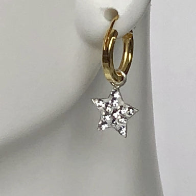 earrings CZ Star Necklace Celestial Jewelry Cartilage Hoops Gold Charm Open Hoop Earrings Tiny Crystal Charms G10 - Title by