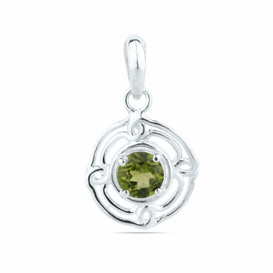 Dainty Peridot Pendant Sterling Silver Tiny August Birthstone Gift For Girlfriend